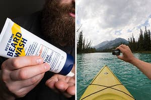 The beard wash and an underwater shot from the GoPro camera