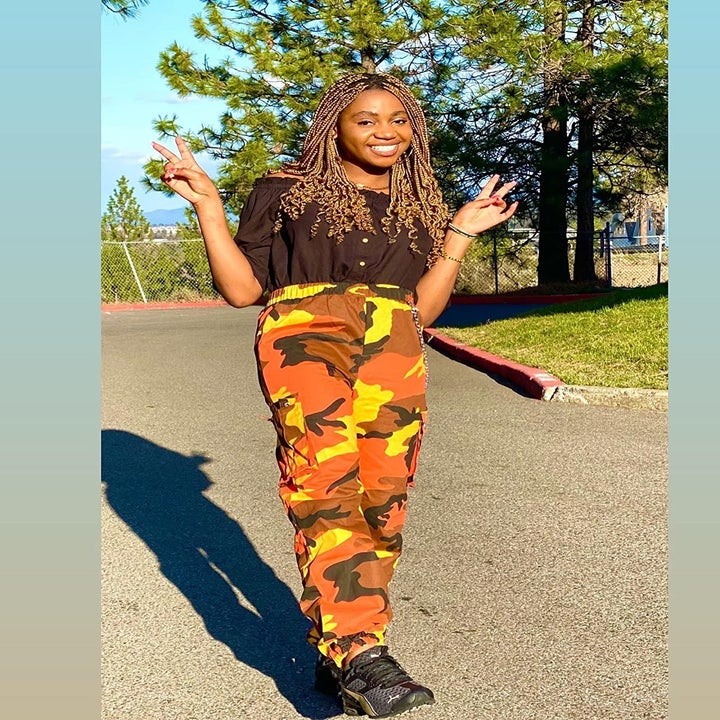 the pants in orange camouflage  print