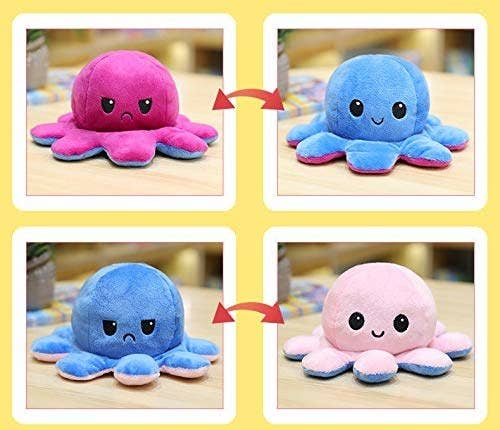 A split image showing a happy octopus on the right side and a sad octopus on the left side