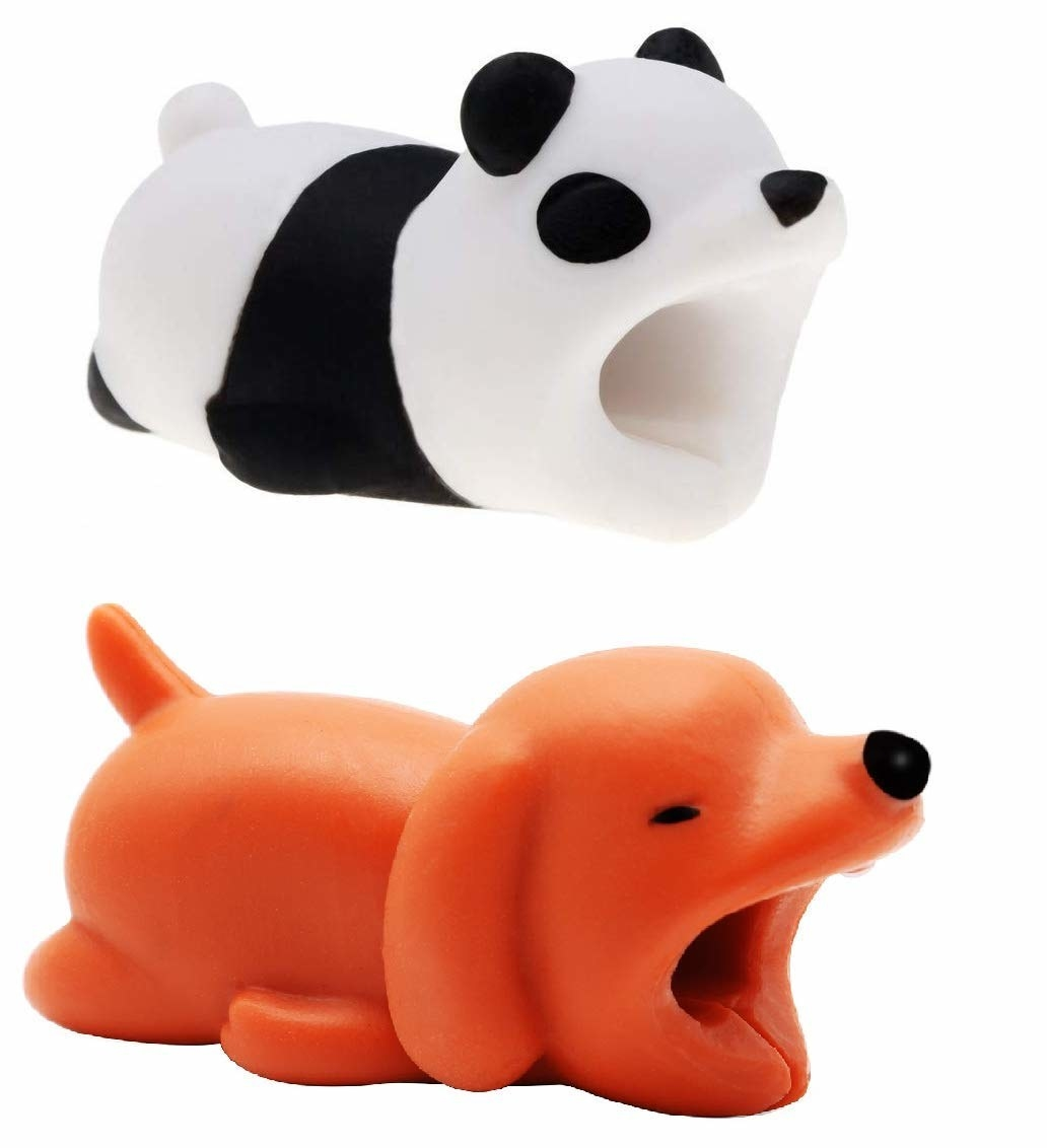Panda and dog-shaped cable bites to attach to the ends of your cables to keep them from fraying.