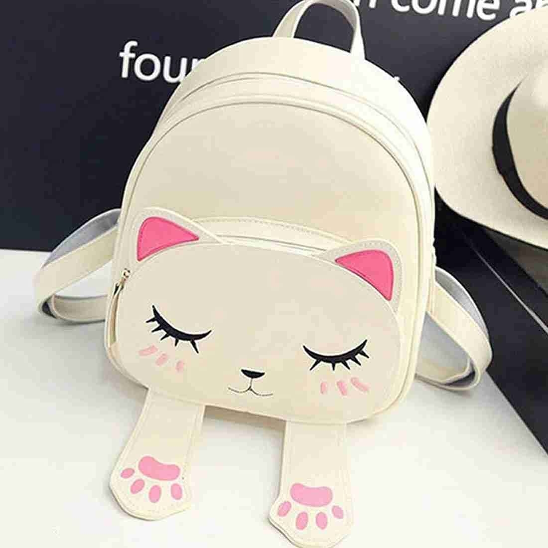 A white backpack with a cat face that also has ears and two flappy feet.
