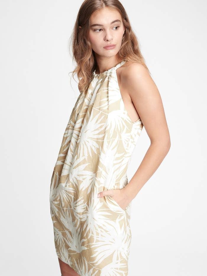 Beige and white palm print dress