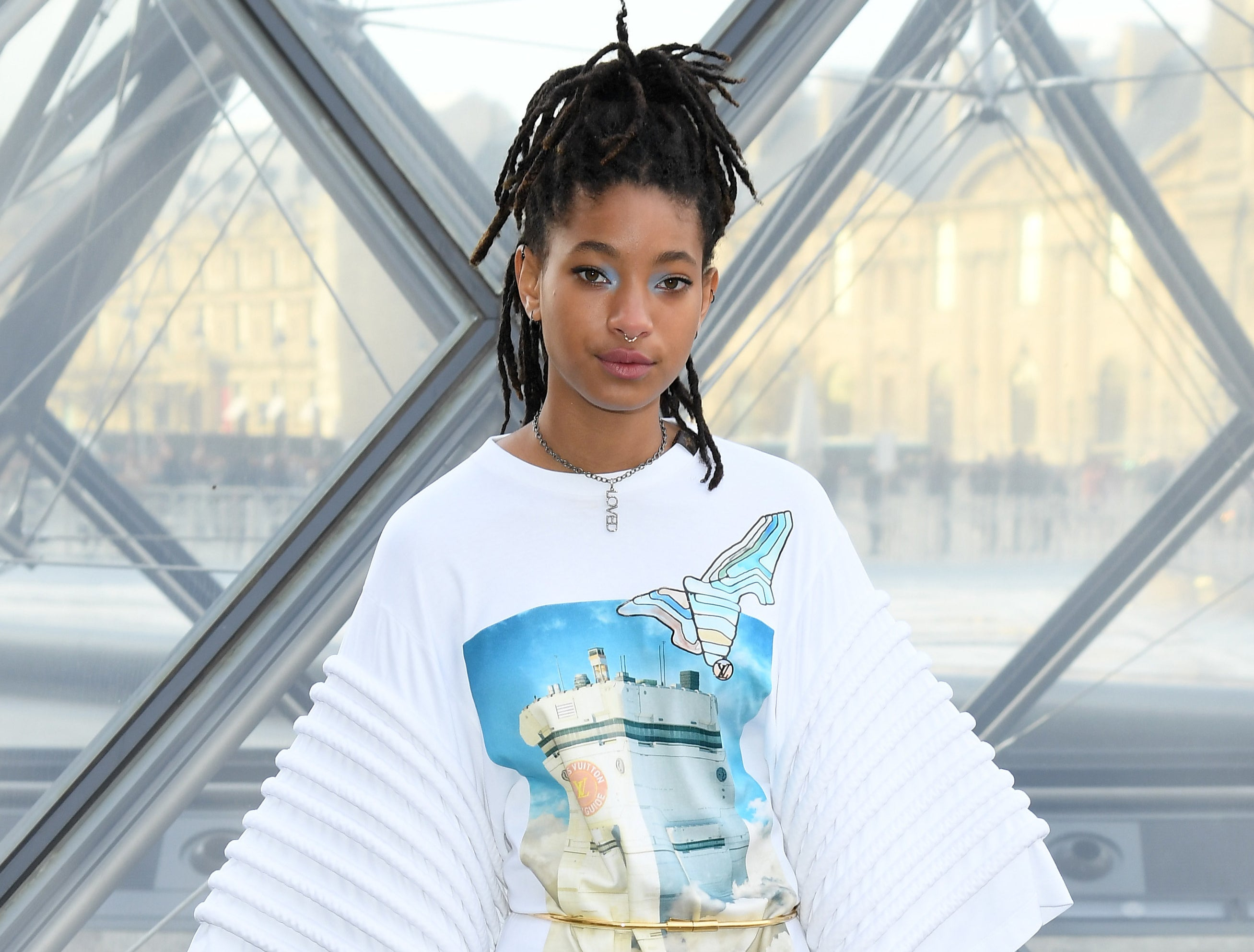 Willow smiles while attending a fashion event in Paris