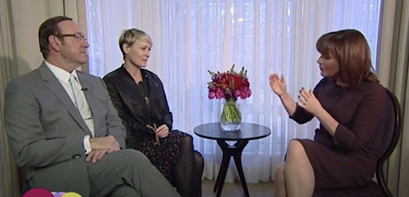 spacey and robin wright doing an interview with kelly