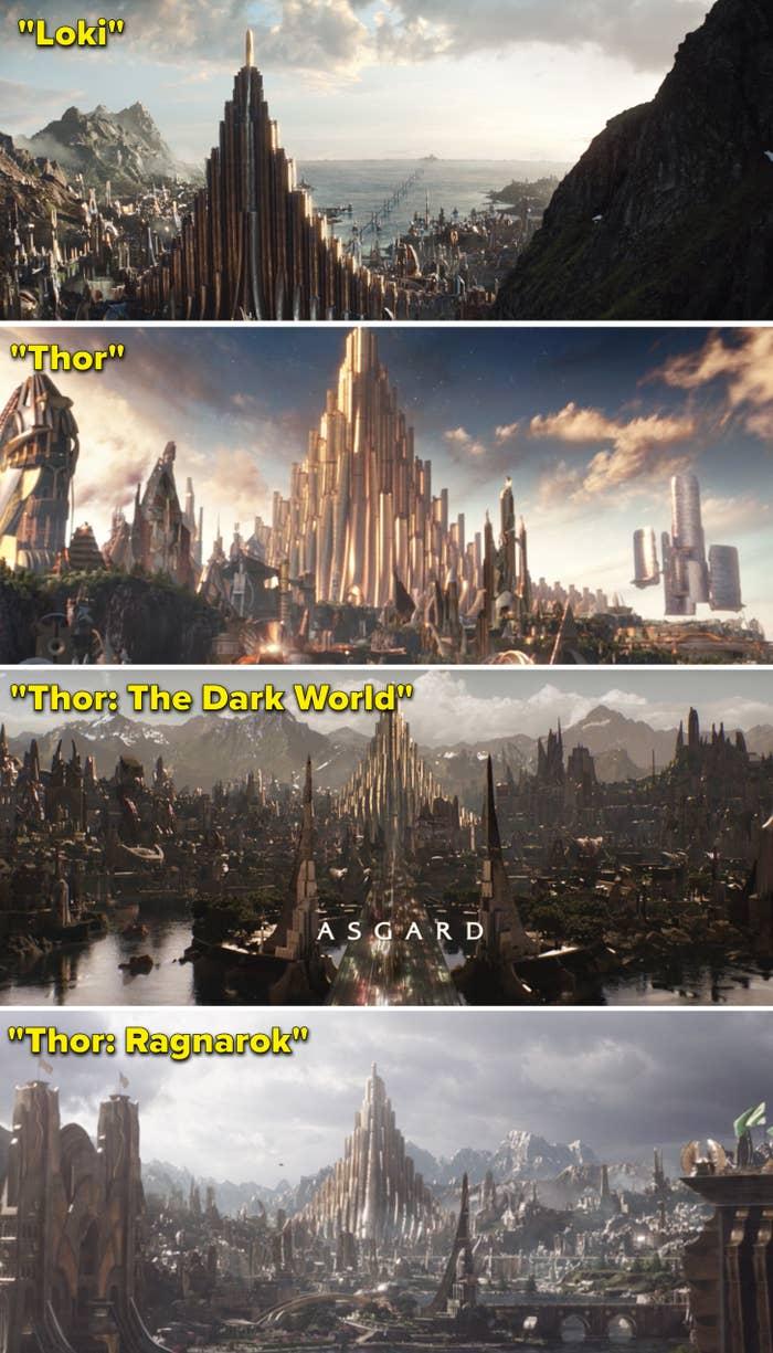 A look at Asgard in Loki, Thor, Thor: The Dark World, and Thor: Ragnarok