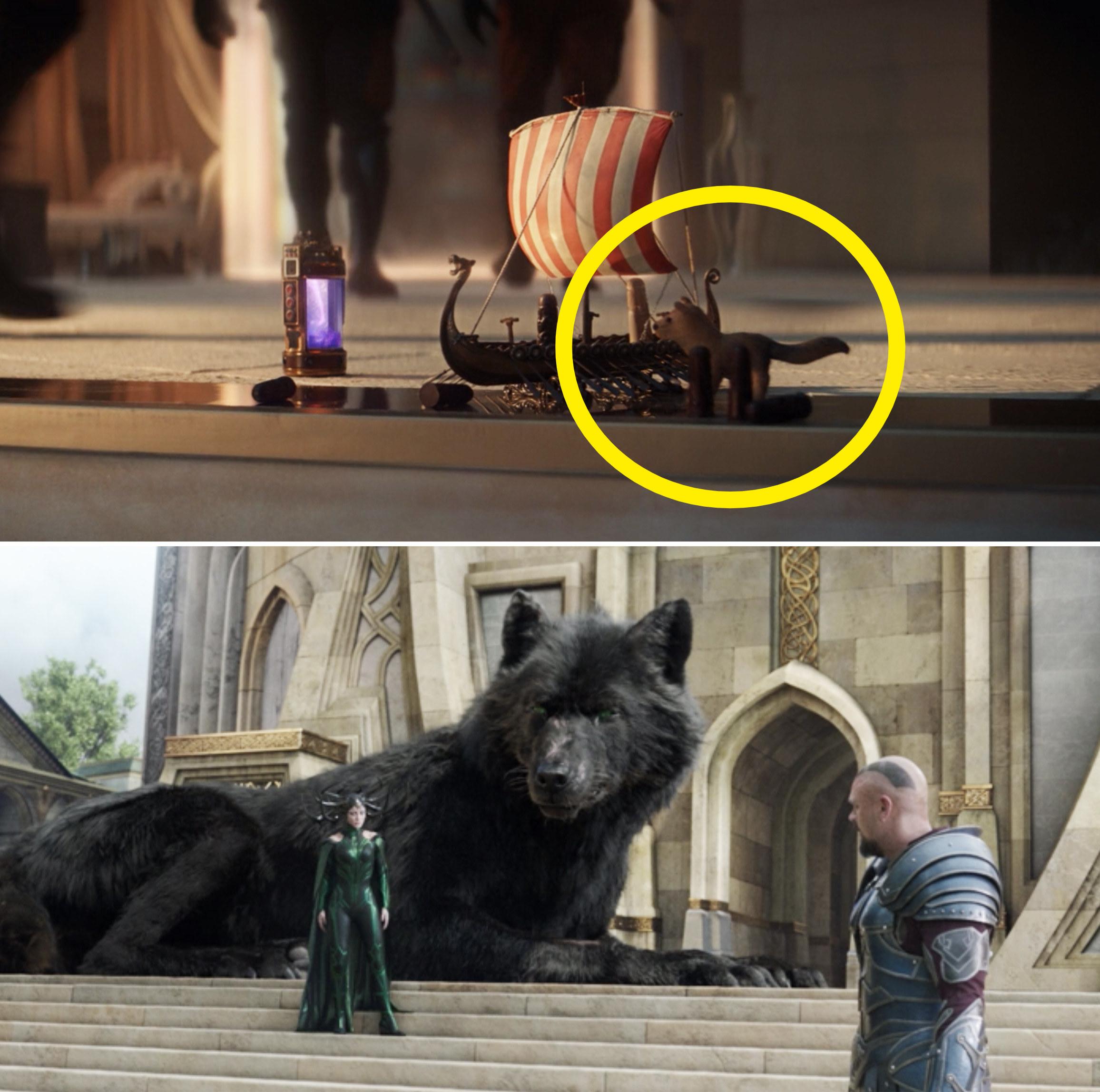 Sylvie's small wolf toy vs. Fenris in Thor: Ragnarok