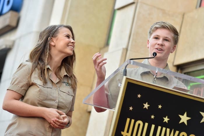 Bindi Irwin and Robert Irwin attend the ceremony honoring Steve Irwin with star on the Hollywood Walk of Fame on April 26, 2018 in Hollywood, California