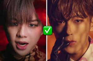 Two K-Pop members are facing straight ahead with a check mark emoji in the center