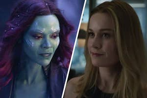 Gamora looks worried as her eyes cast downwards and Carol Danvers smirks at someone off screen.