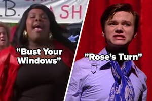 Mercedes Jones sings in front of a car wash banner and Kurt Hummel wears a purple collared shirt and blue scarf.