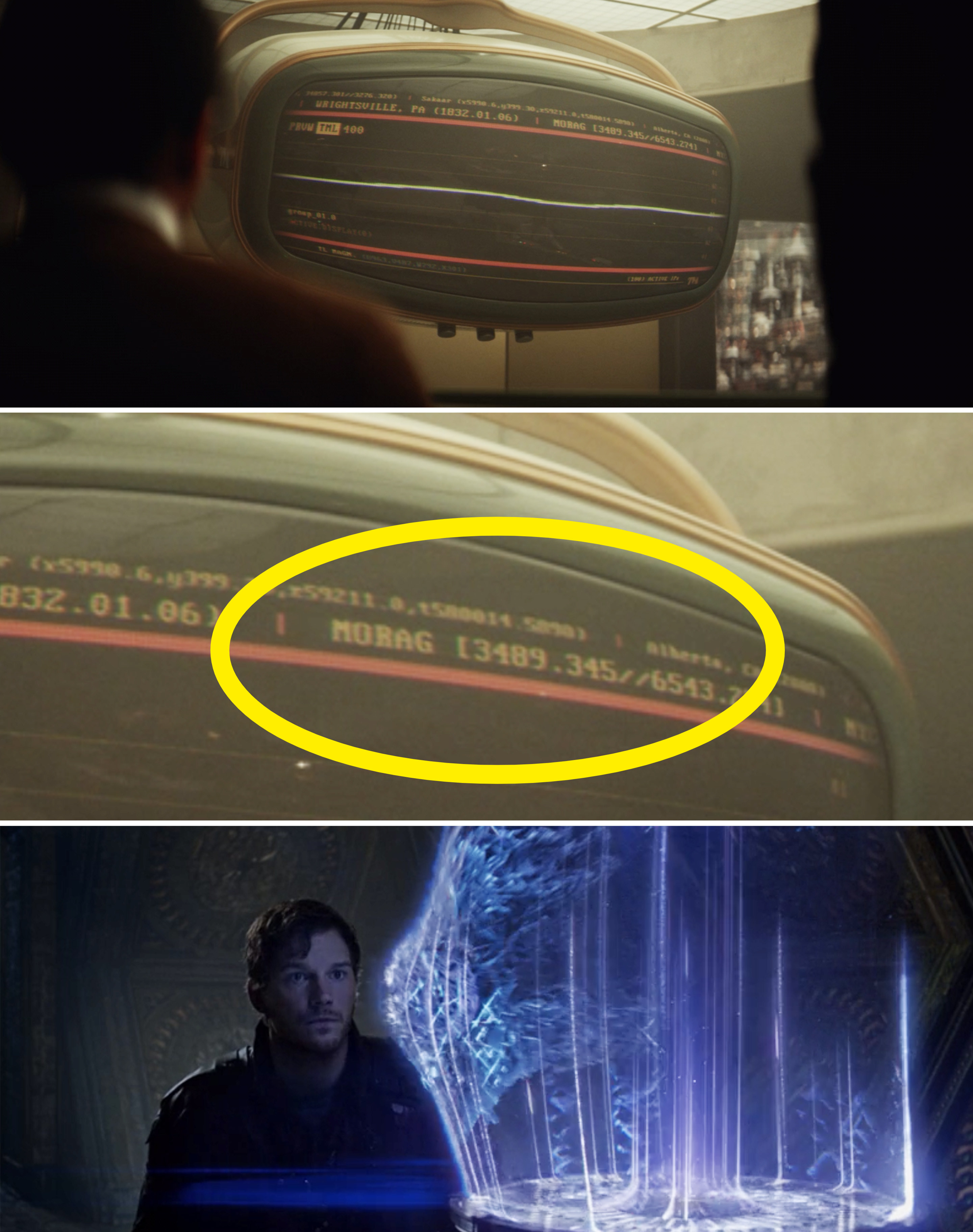 """A close-up of a monitor reading, """"Morag"""" vs. Peter Quill getting the Orb"""