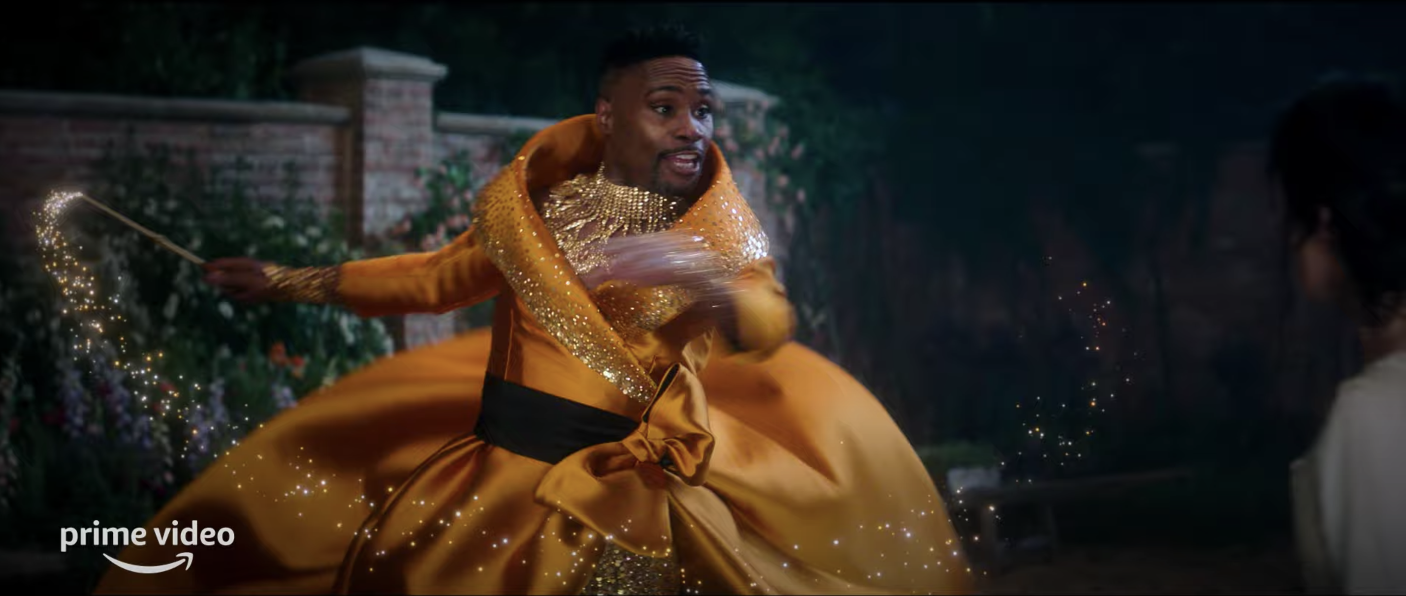 """Billy Porter spins with a wand as the Fairy Godmother on set of Amazon Prime Video's """"Cinderella"""""""