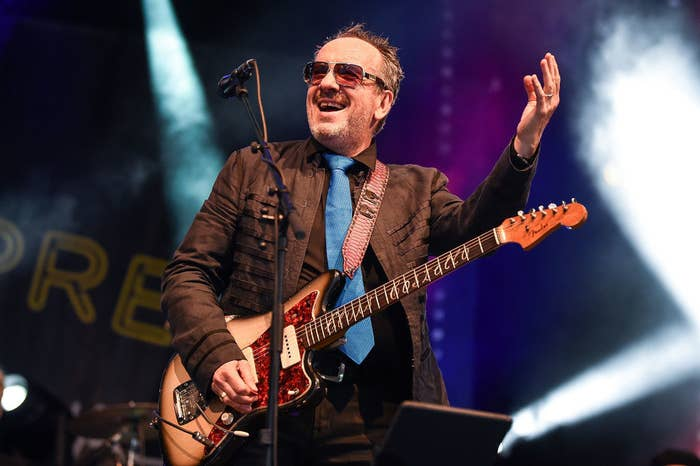 Elvis Costello performing on-stage