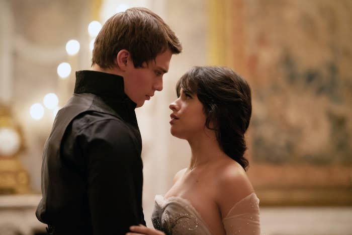 """Nicholas Galitzine and Camila Cabello look at one another on set of Amazon's """"Cinderella"""""""