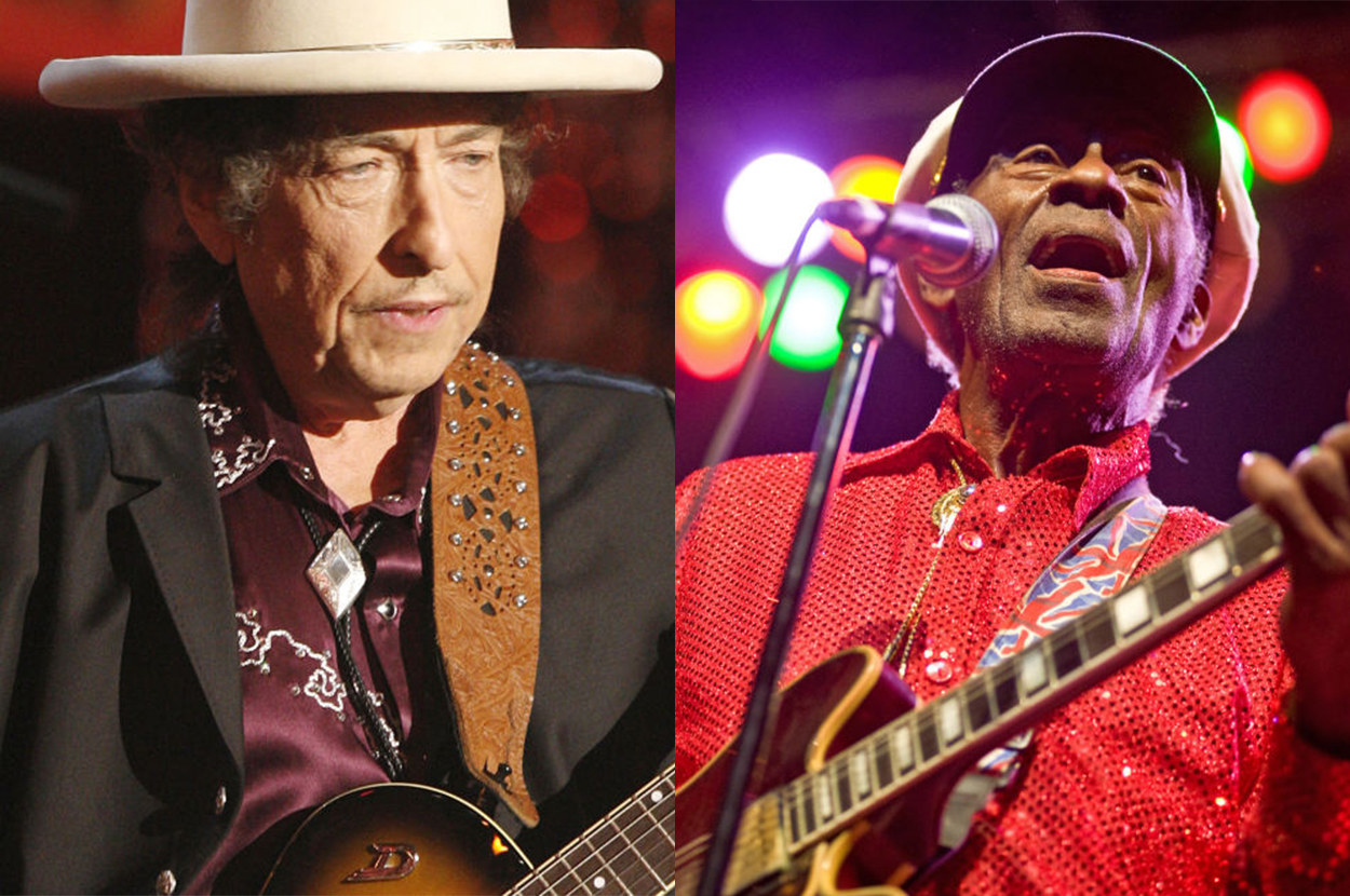 Bob Dylan and Chuck Berry separately performing on-stage