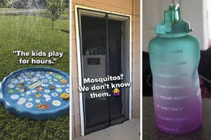 three reviewer photos from left to right are a small pool for kids that sprays water in the air, a net on a door that keeps mosquitos out, and a tall water bottle to track intake