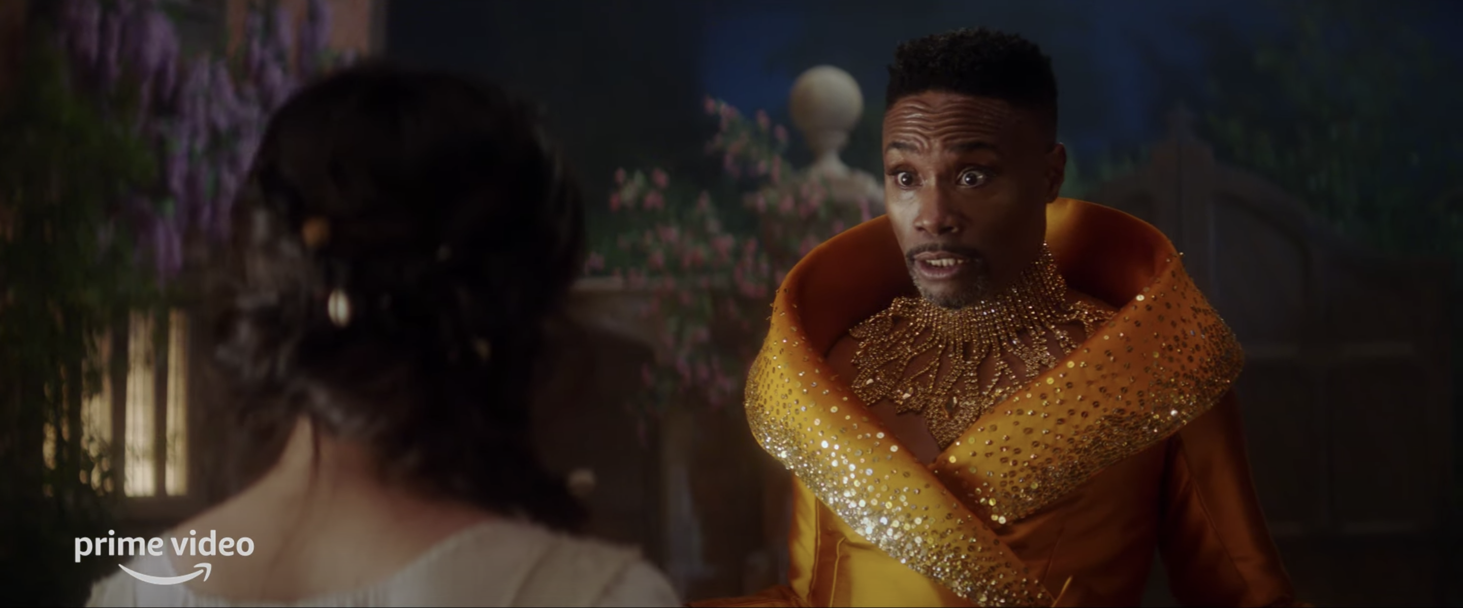 """Billy Porter (the Fairy Godmother) questions Camila Cabello (Cinderella) on set of Amazon Prime Video's """"Cinderella"""""""