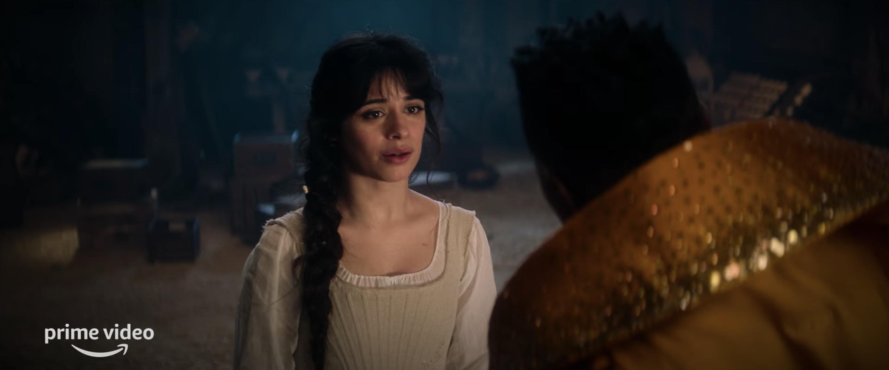 "Camila Cabello looks concerned as Cinderella on set of Amazon Prime Video's ""Cinderella"""