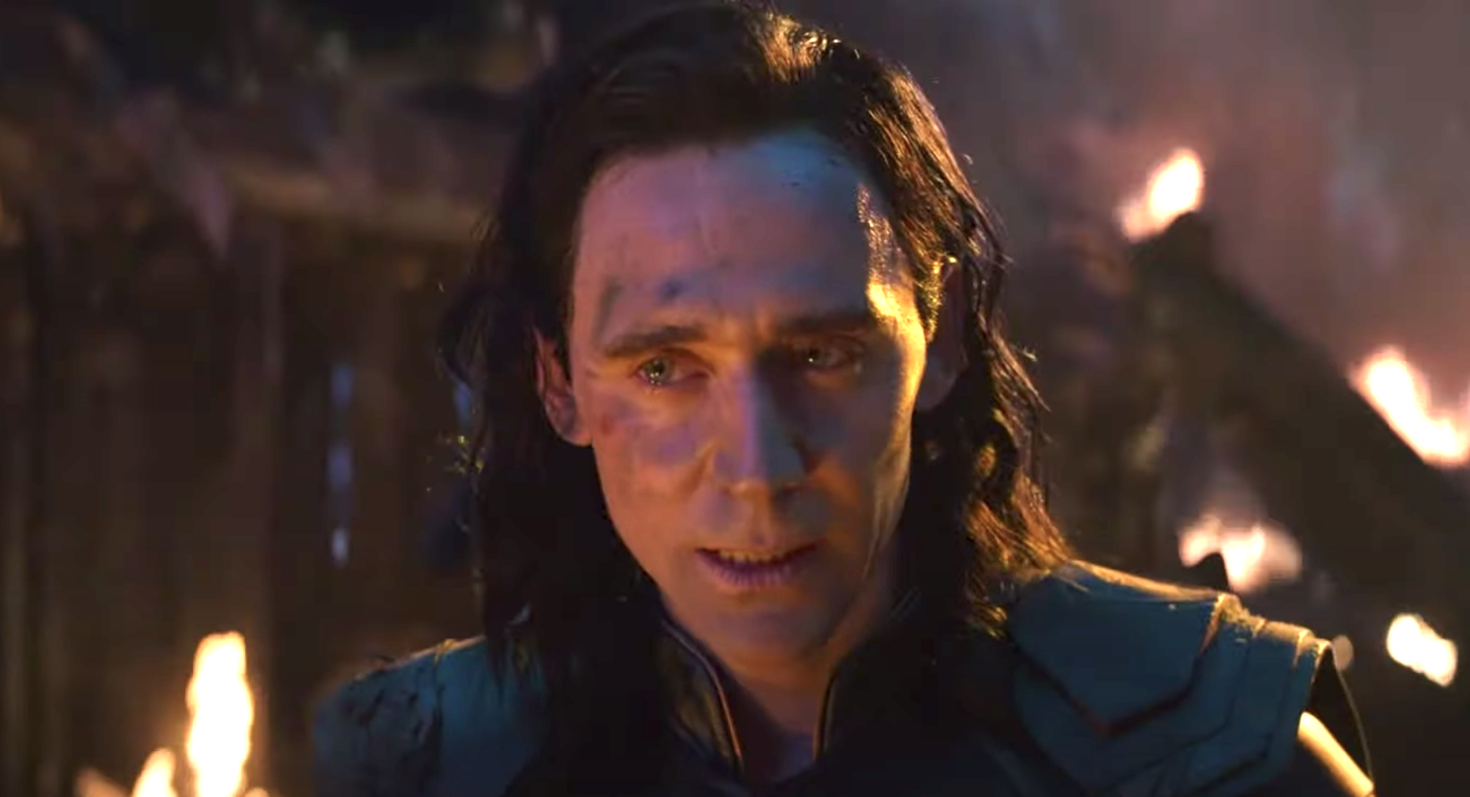 Loki's curls in Infinity War were well defined but barely visible