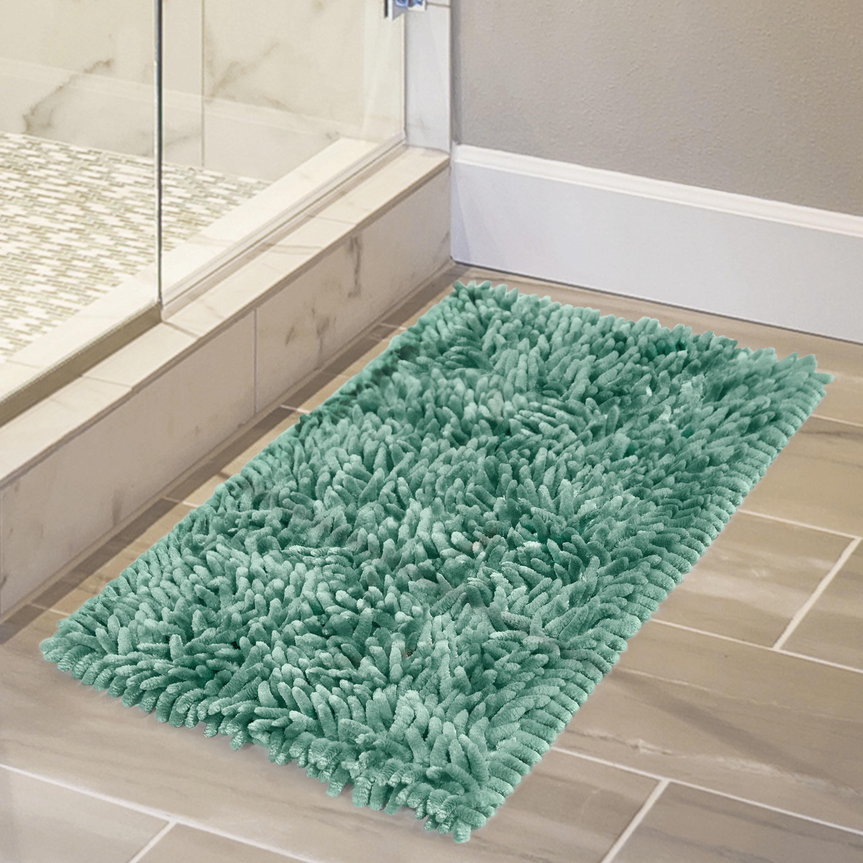The memory bath mat on a bathroom floor
