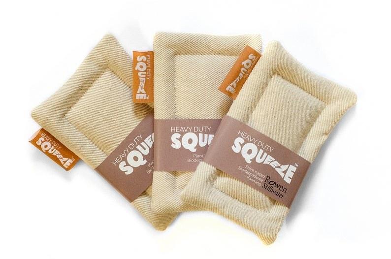 three heavy duty zero waste squeeze sponges