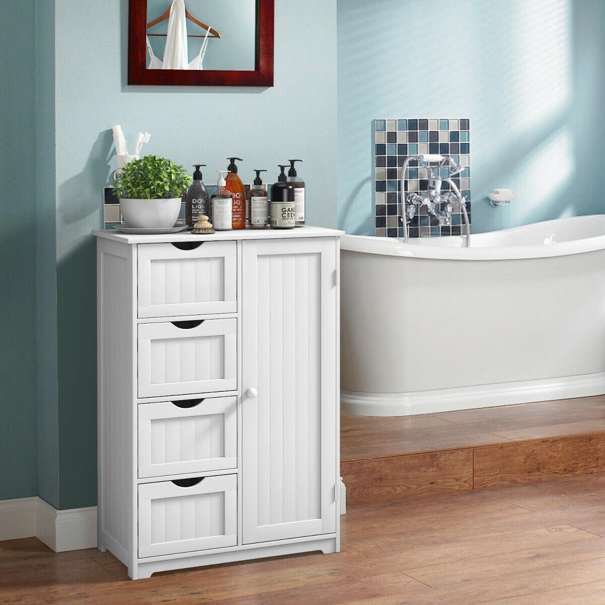 A four-drawer bathroom cabinet storage cupboard