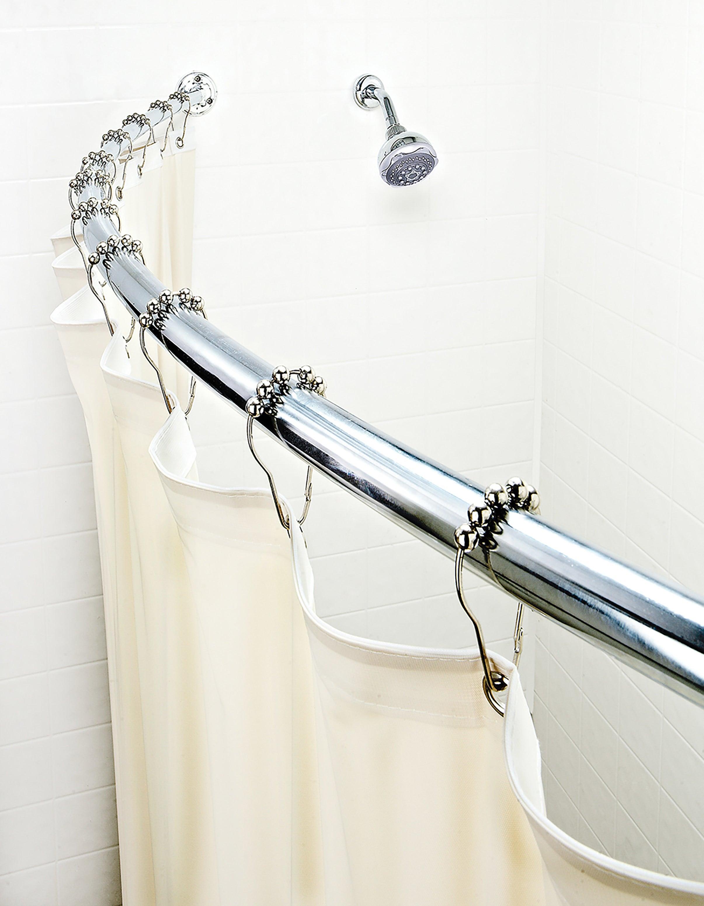 An adjustable shower curtain rod