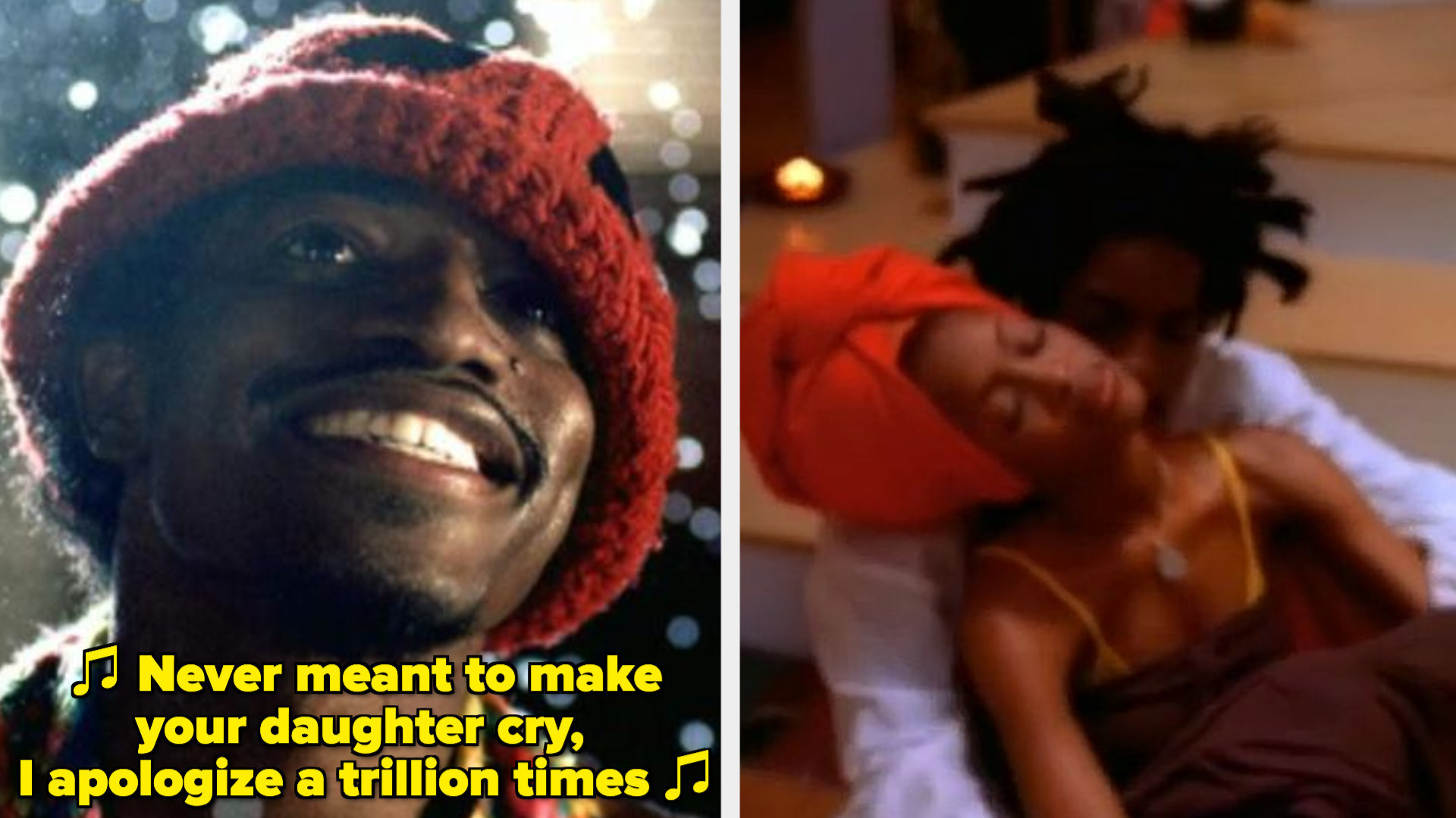 """André 3000 in Outkast's """"Ms. Jackson"""" music video; Erykah Badu and André 3000 in Badu's """"Otherside of the Game"""" music video"""