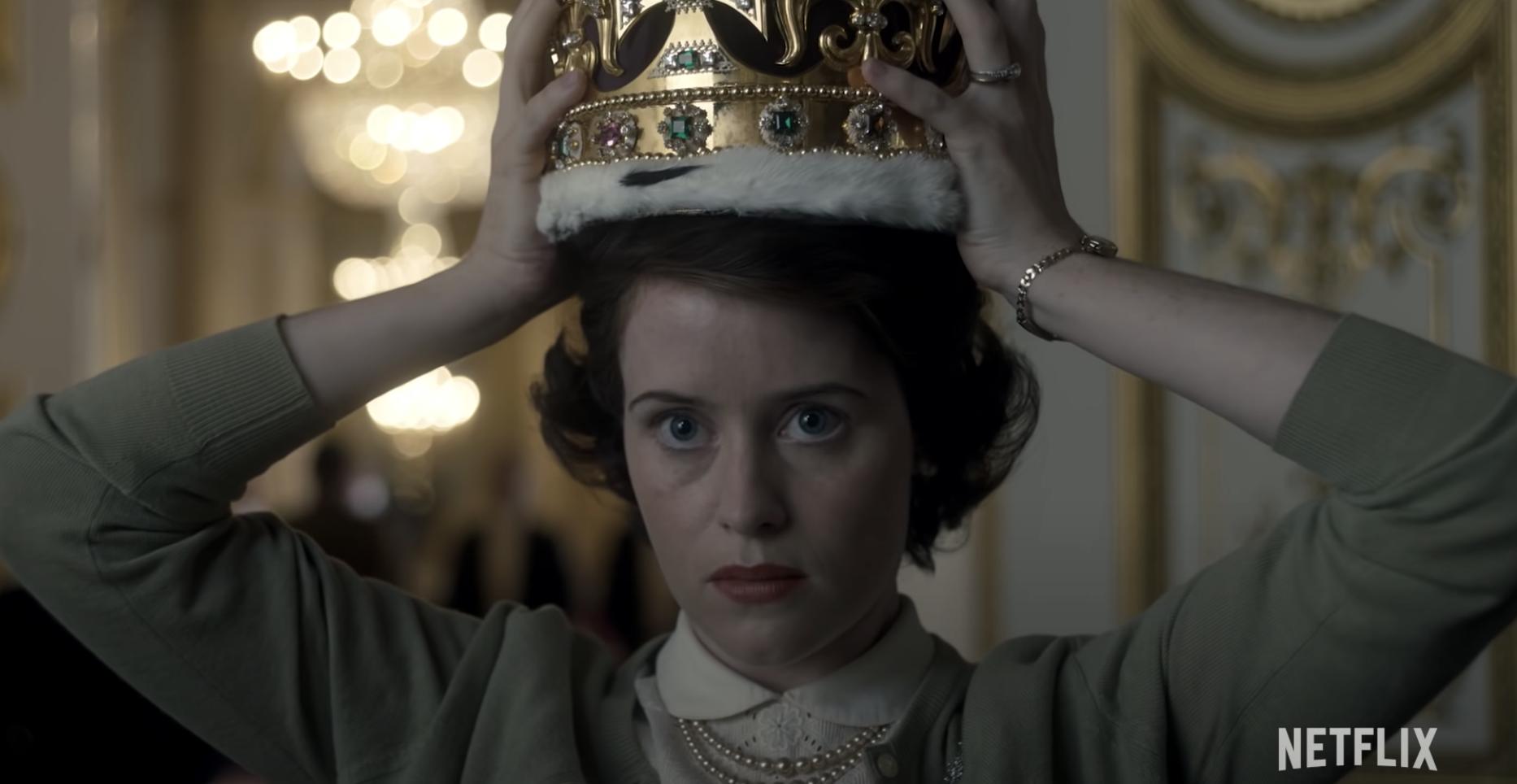 The Queen wearing her crown in the Netflix series