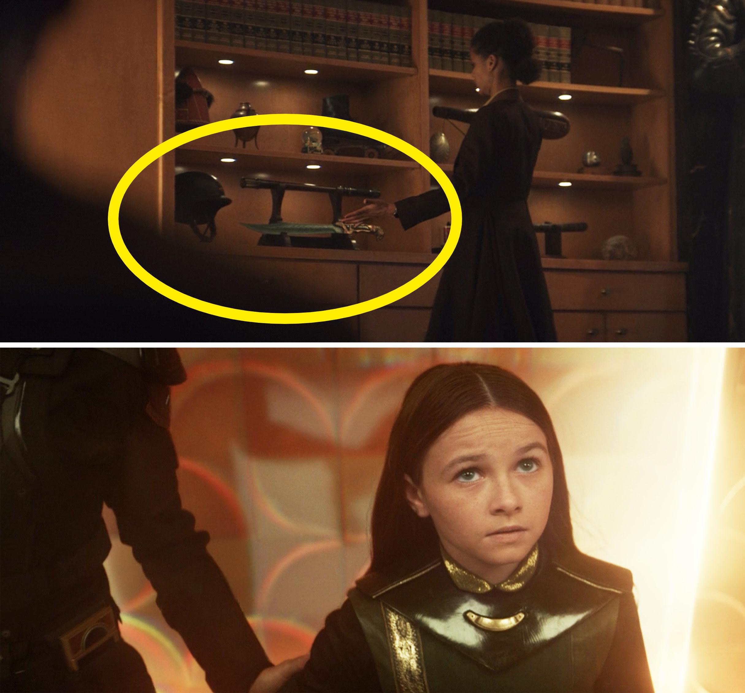Ravonna placing Sylvie's sword on a shelf