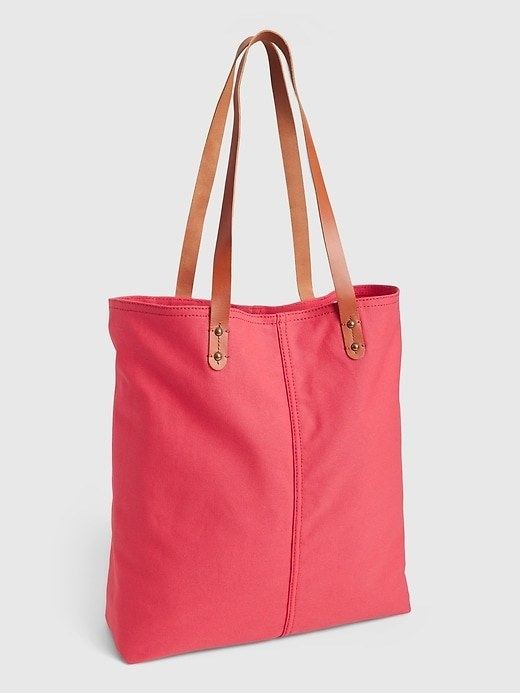 Red tote bag with leather straps