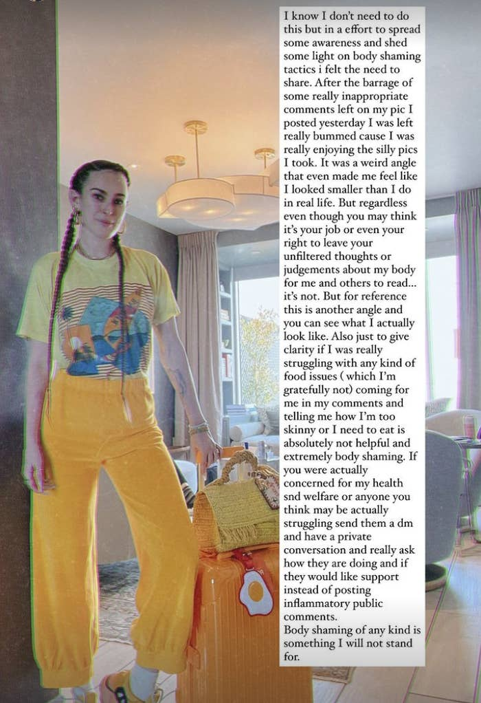 Rumer standing, wearing loose, yellow-orange pants, with a long note from her IG story