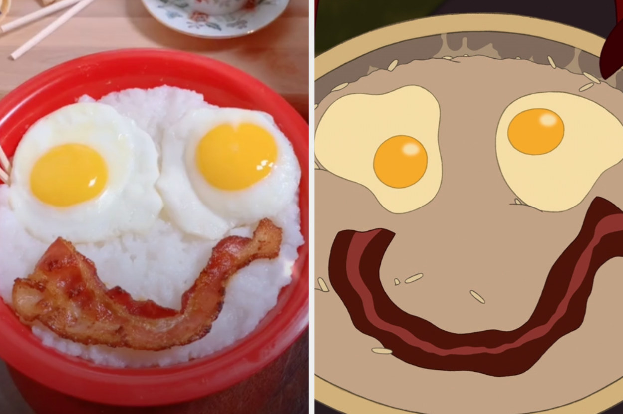Gabrielle's bowl of rice, eggs, and bacon alongside Mushu's same dish in Mulan