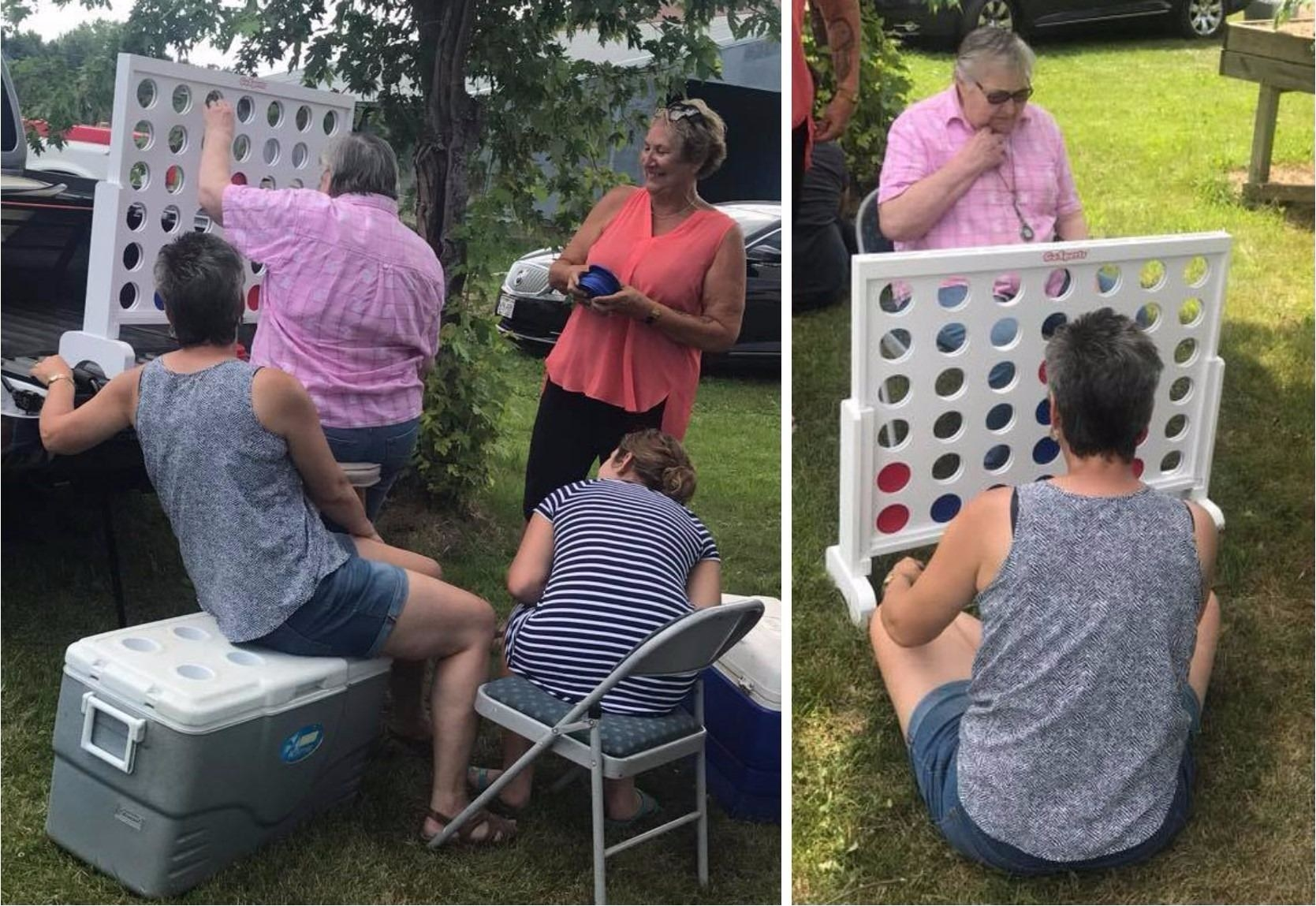 reviewer side by side images of adults playing the GoSports giant 4 in a row game outside