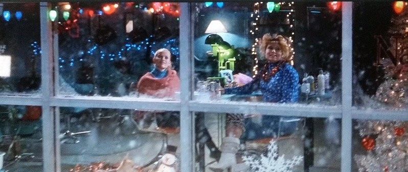 Elle and Paulette are inside the hair salon watching the snow fall outside. There are Christmas lights in the background.