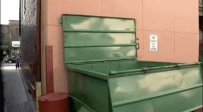 A green dumpster in an alley
