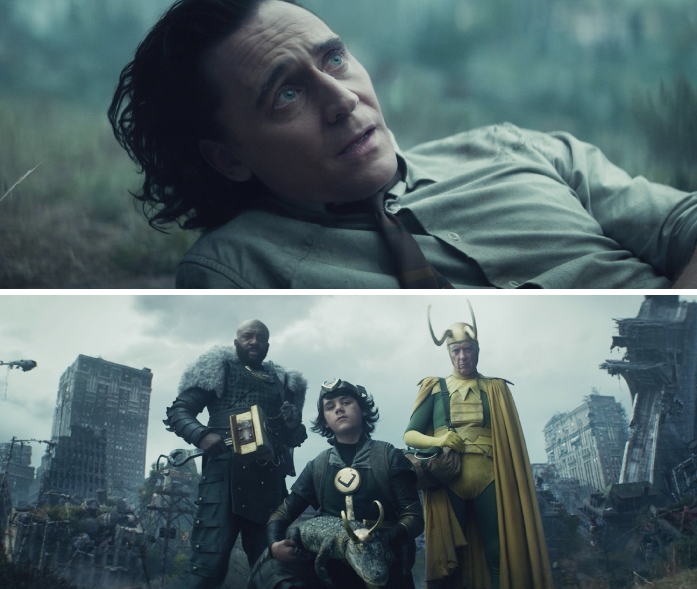Loki looking up at four Lokis