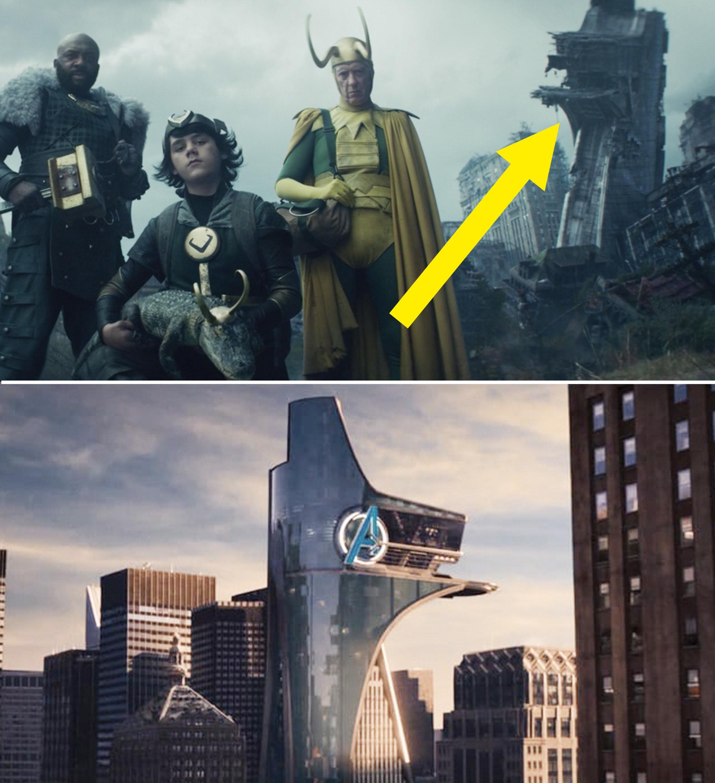 A crumbling Avengers Tower behind Classic Loki