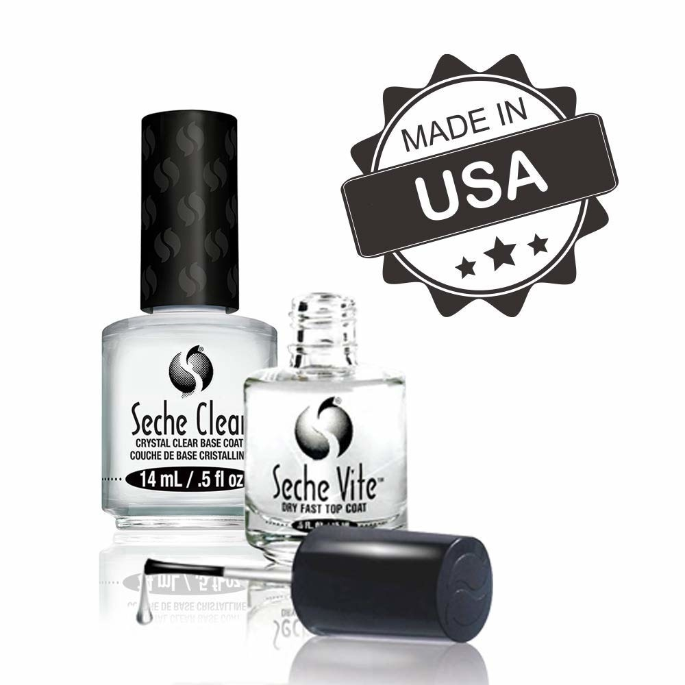 The top coat and clear base coat in their bottles