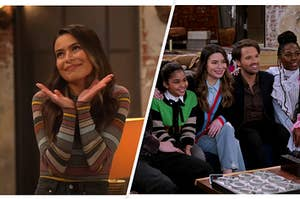 The first image is of the original iCarly cast on a red carpet, and the second is a screenshot of the new iCarly cast on the set of the reboot,