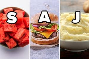 saj initials over melon, burger and potatoes