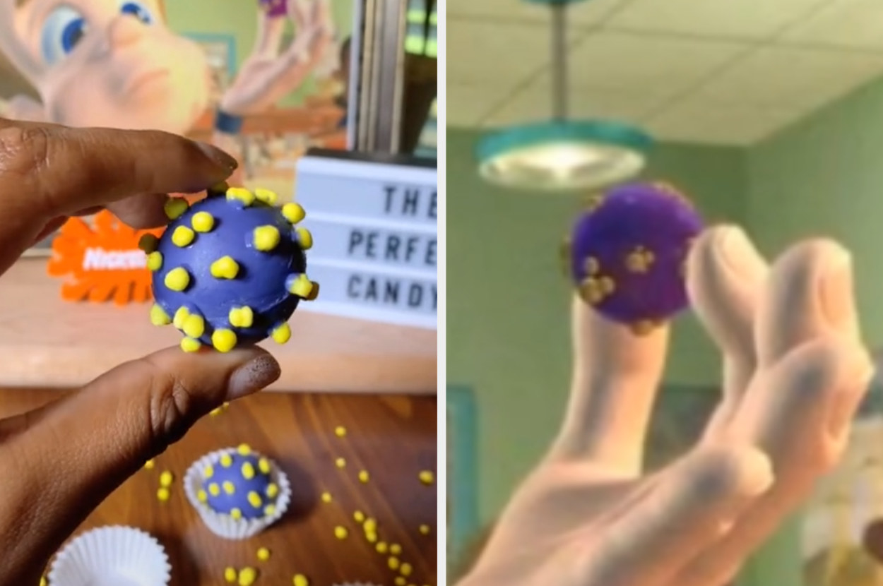 Gabrielle holding her perfect candy next to Jimmy holding his perfect candy in Jimmy Neutron
