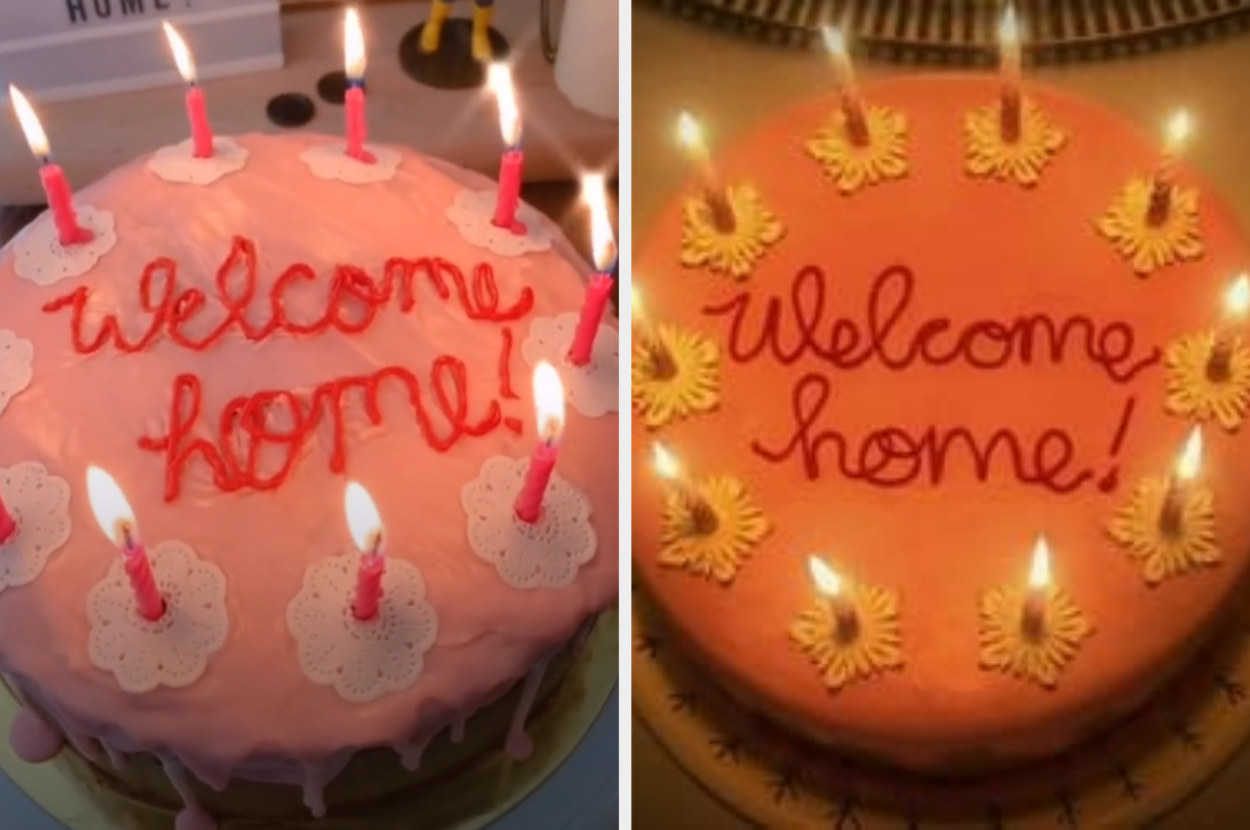 Gabrielle's welcome home cake next to Coraline's welcome home cake in Coraline