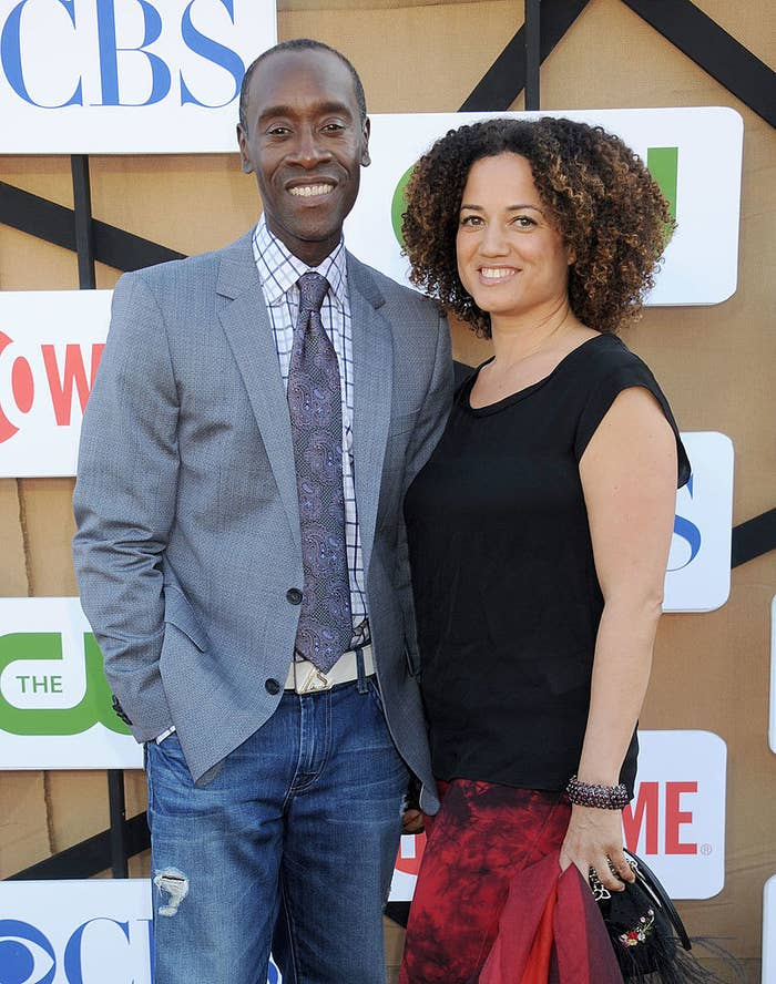 Don Cheadle (L) and Bridgid Coulter arrive at the CBS/CW/Showtime Television Critic Association's summer press tour party