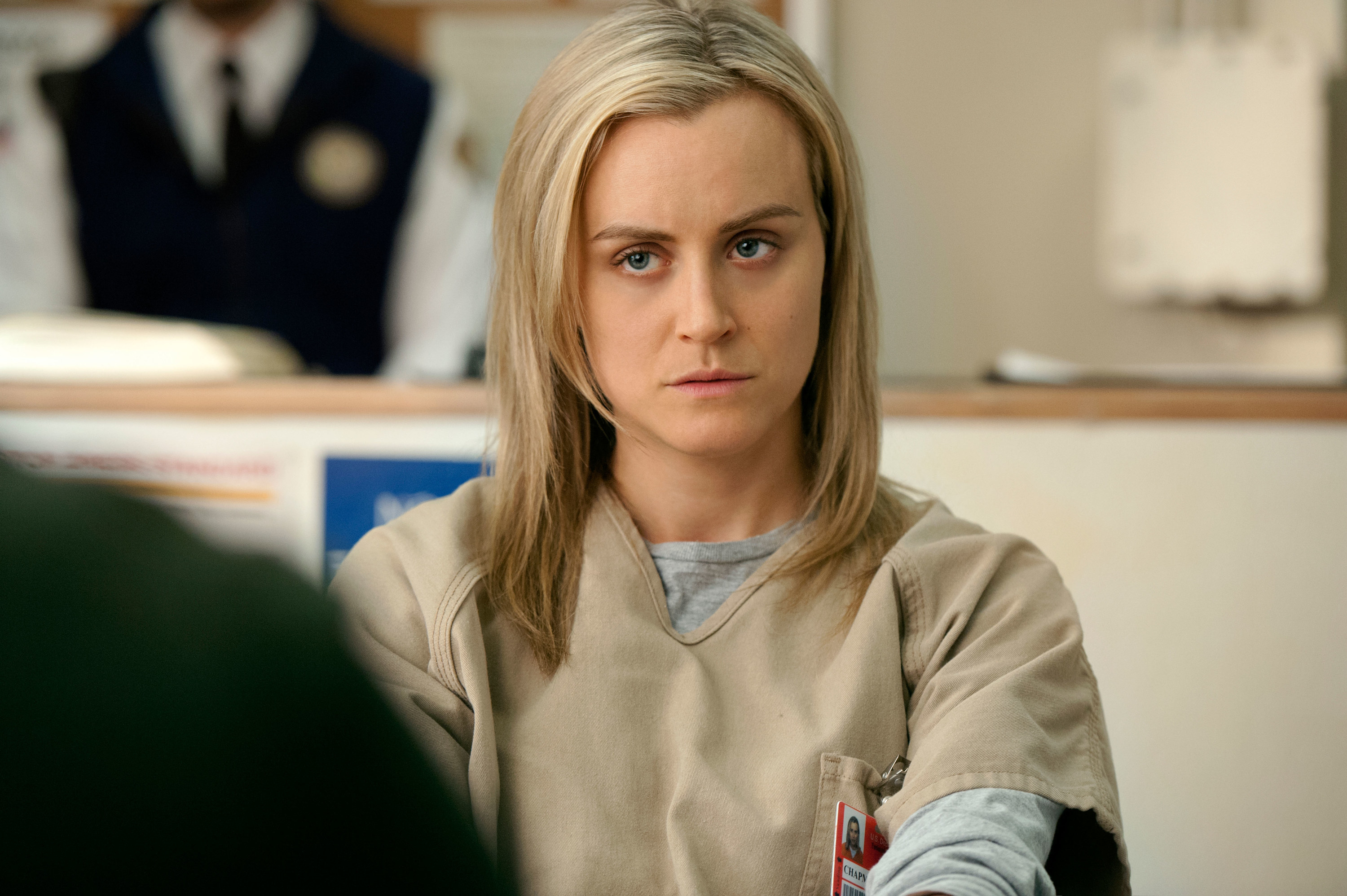 Piper looking sternly at someone