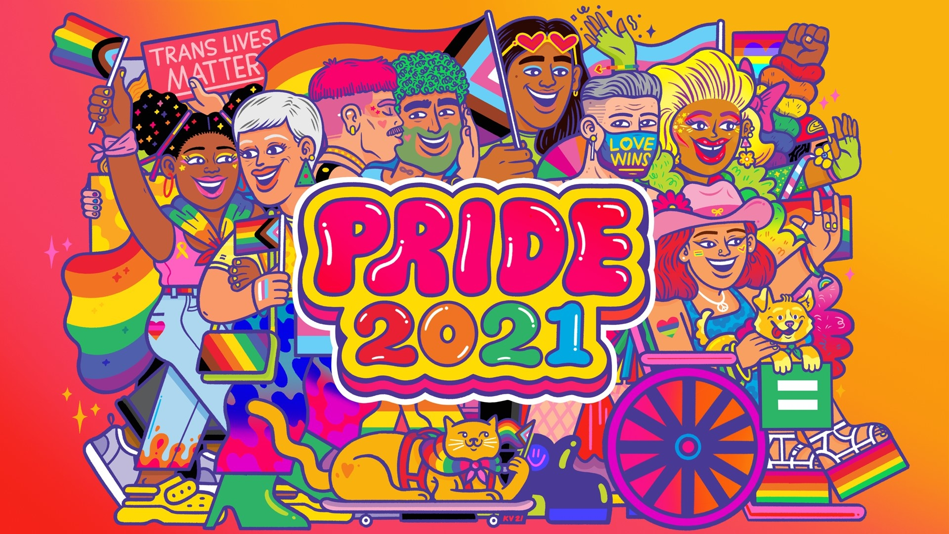 A colorful illustration of all types of people celebrating pride