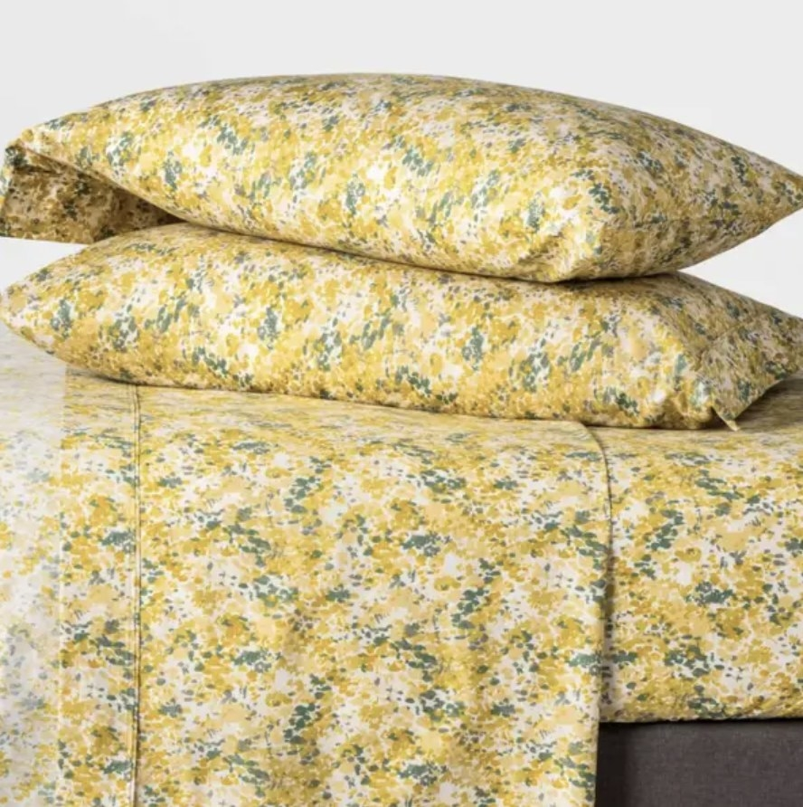 Floral sheets on bed