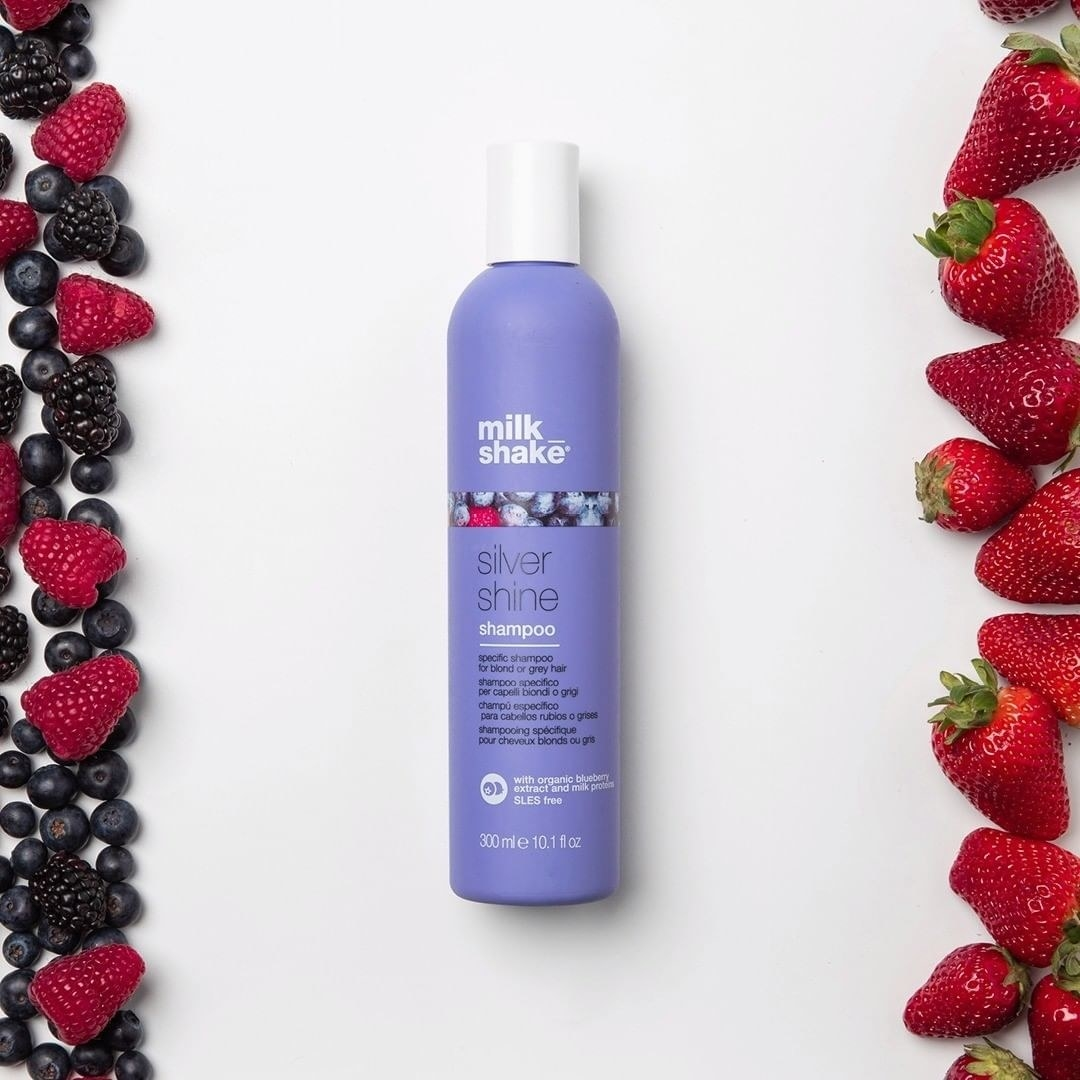 A bottle of milkshake silver shine purple shampoo