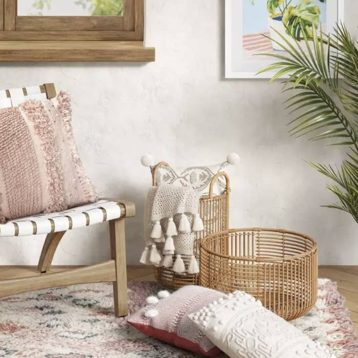 Rattan baskets sitting in living room