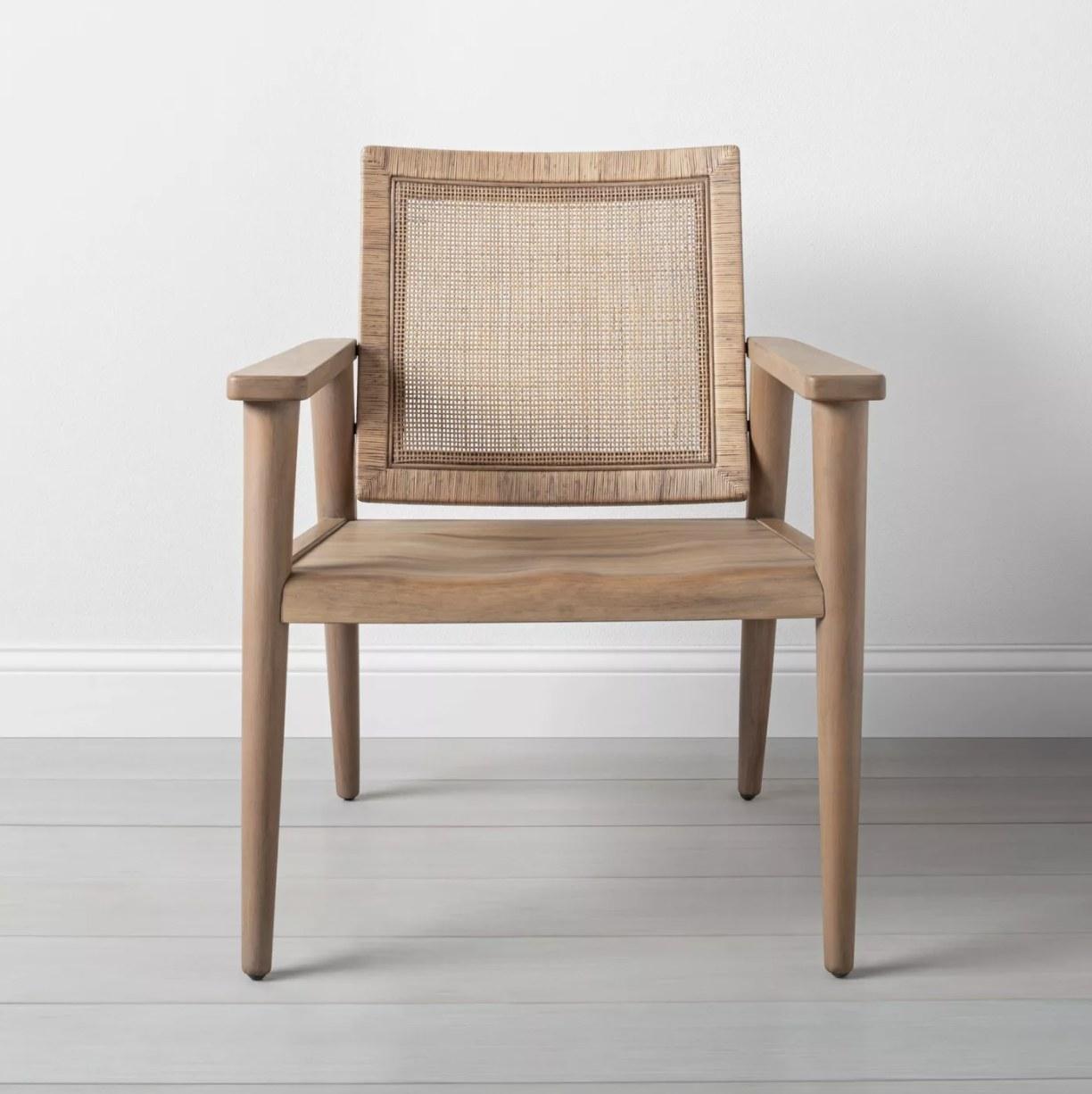 Modern chair sitting in a clean room